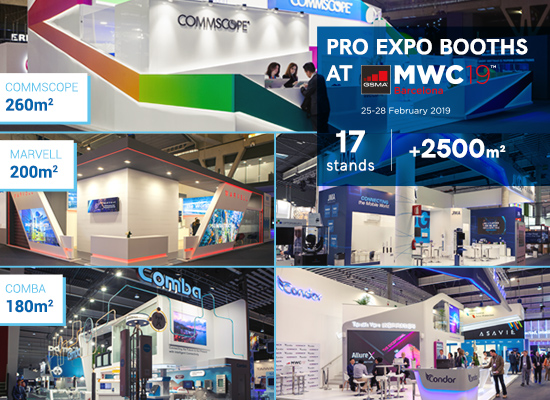 2,500 sqm were designed and built by PRO EXPO at MWC 2019!